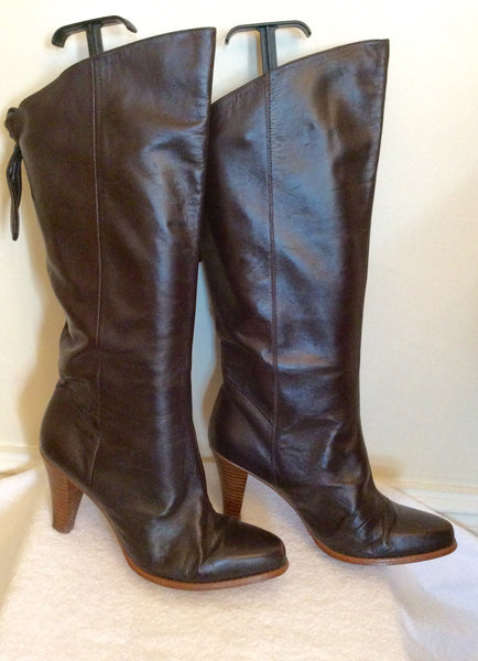 French Connection Dark Brown Leather Boots Size 6/39 - Whispers Dress Agency - Sold - 1