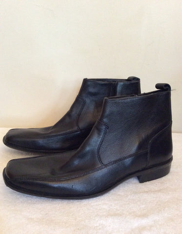 Brand New Bond Street Black Leather Ankle Boots Size 10 / 44.5 - Whispers Dress Agency - Mens Boots - 3