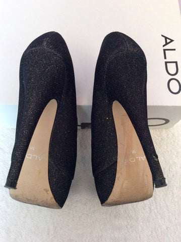 Aldo Vannice Black Sparkle Peeptoe Platform Sole Heels Size 5/38 - Whispers Dress Agency - Womens Heels - 5