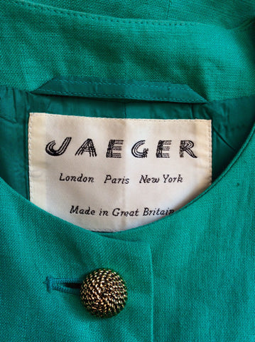 Vintage Jaeger Green Linen Box Jacket Size 10 - Whispers Dress Agency - Womens Vintage - 4