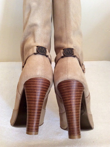 Brand New Morgan Beige Suede Studded Trim Heels Size 7.5/41 - Whispers Dress Agency - Womens Boots - 4