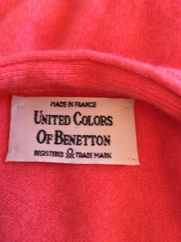 Vintage United Colours Of Benetton Coral Wool & Angora Cardigan Approx M/L - Whispers Dress Agency - Womens Vintage - 2