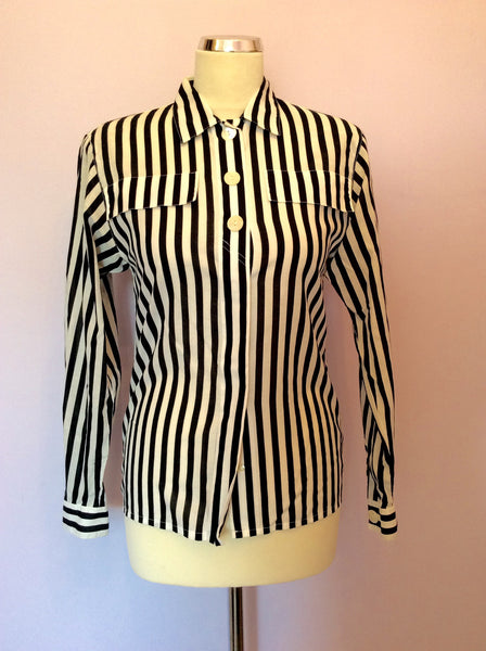 "Vintage Blue  & White Stripe Cotton Shirt Size 32"" Approx 10 - Whispers Dress Agency - Sold - 1"