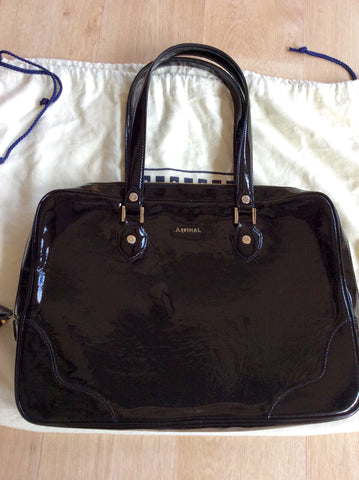 ASPINAL BLACK PATENT LEATHER SOFT LAPTOP TOTE BAG - Whispers Dress Agency - Shoulder Bags - 2