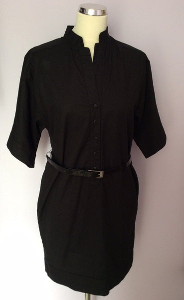 French Connection Black Belted Shirt Dress Size 8 - Whispers Dress Agency - Sold - 1