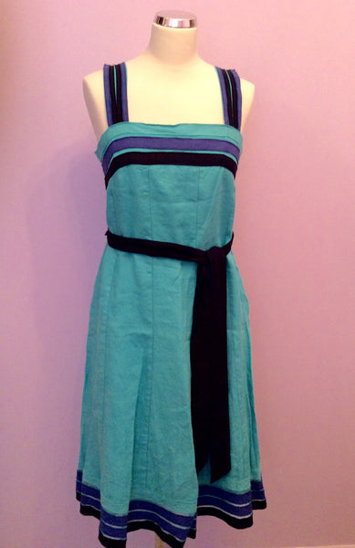 Brand New Per Una Green With Blue & Black Trim Linen Dress Size 14 - Whispers Dress Agency - Womens Dresses - 1
