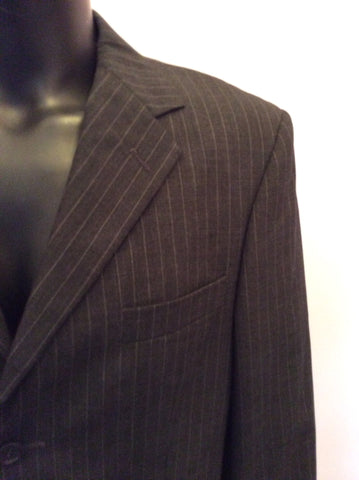 YVES SAINT LAURENT DARK GREY PINSTRIPE WOOL JACKET SIZE 40L - Whispers Dress Agency - Mens Suits & Tailoring - 4