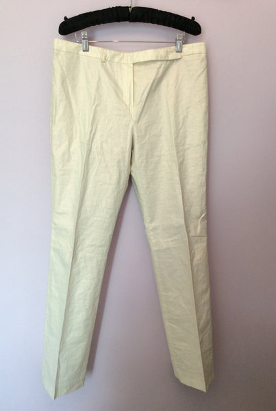 Mulberry Ivory Linen Trousers Size 14 - Whispers Dress Agency - Sold - 1
