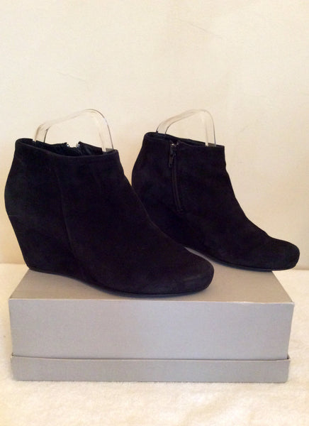779c761ed6dfec Hogl Black Suede Wedge Heel Ankle Boots Size 4/37 - Whispers Dress Agency -