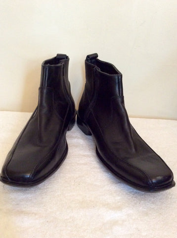 Brand New Bond Street Black Leather Ankle Boots Size 10 / 44.5 - Whispers Dress Agency - Mens Boots - 1