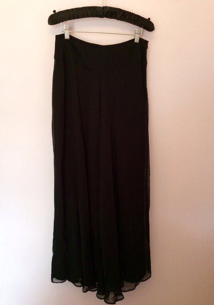 NITYA BLACK WIDE LEG TROUSERS SIZE 12 - Whispers Dress Agency - Womens Trousers - 1