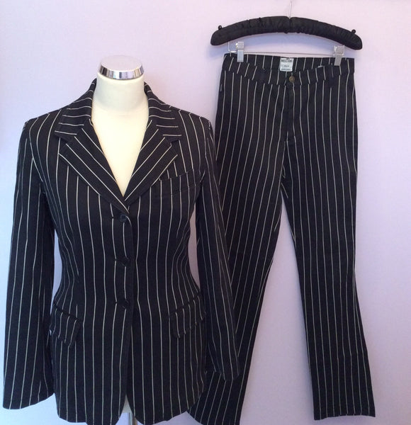 Moschino Jeans Black & White Pinstripe Trouser Suit Size 10/12 - Whispers Dress Agency - Sold - 1
