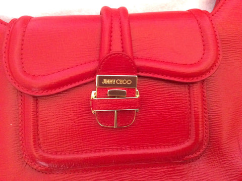 Jimmy Choo Red Leather Harp Bag - Whispers Dress Agency - Sold - 2