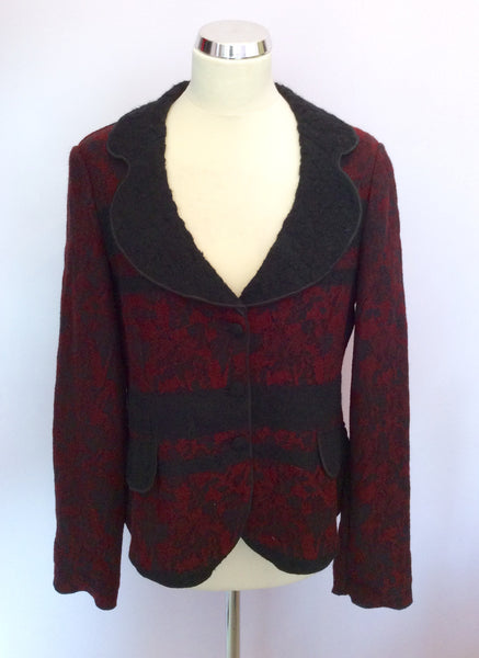 Aria Dark Red & Black Wool Blend Jacket Size 14 - Whispers Dress Agency - Womens Coats & Jackets - 1