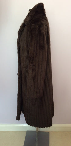 Astraka Dark Brown Faux Fur Coat Size M Approx. - Whispers Dress Agency - Womens Coats & Jackets - 3