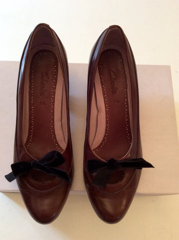 CLARKS DARK BROWN LEATHER TIE BOW TRIM HEELS SIZE 5.5/38.5 - Whispers Dress Agency - Womens Heels - 1