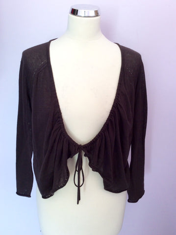 Brand New Hobbs Dark Brown Two Way Fasten Cardigan Size XL - Whispers Dress Agency - Womens Knitwear - 1