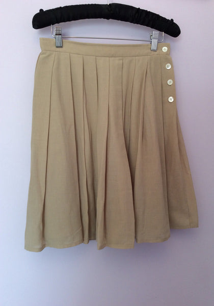 Vintage Jaeger Beige Pleated Skirt Size 12 Fit UK 8/10 - Whispers Dress Agency - Sold - 1