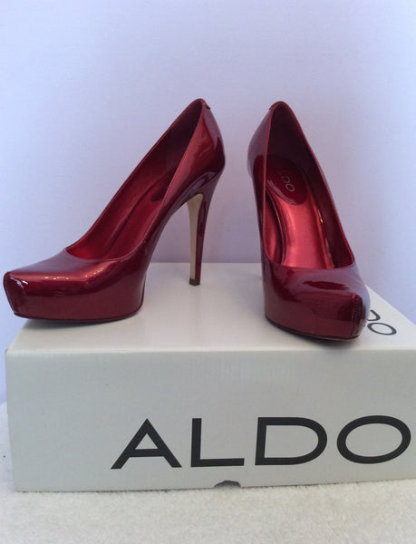 Aldo Dark Red Patent Leather Platform Sole Heels Size 5/38 - Whispers Dress Agency - Sold - 1