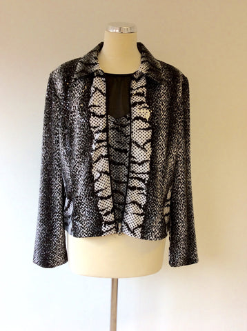 JOSEPH RIBKOFF BLACK & WHITE PRINT TOP & JACKET SIZE 16 - Whispers Dress Agency - Sold - 1