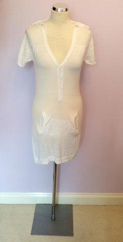 Odabash White Cotton Hooded Beach Cover Up Dress Size M - Whispers Dress Agency - Womens Swim & Beachwear - 1