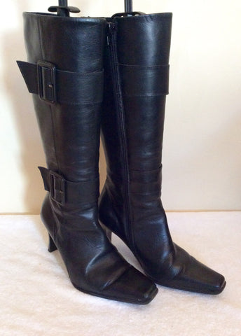 Bata Black Leather Buckle Trim Boots Size 5/38 - Whispers Dress Agency - Womens Boots - 1