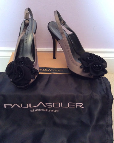 Brand New Paula Soler Brown & Black Satin Slingback Heels Size 4/37 - Whispers Dress Agency - Womens Heels - 1