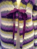 Avoca Anthology Purple, White, Grey & Green Stripe Long Cardigan Size 1 UK S