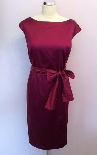 Coast Dark Red Wine Pencil Dress With Sash Belt Size 18 - Whispers Dress Agency - Sold - 1