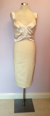 BRAND NEW DIVA CREAM SATIN TRIM WIGGLE PENCIL DRESS SIZE L - Whispers Dress Agency - Womens Dresses - 1