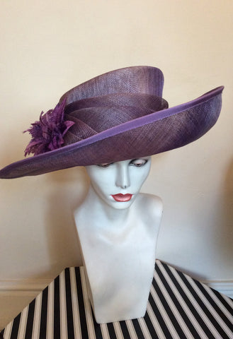 Snoxell Gwyther Dark Lilac / Mauve Wide Brim Flower Trim Formal Hat - Whispers Dress Agency - Womens Formal Hats & Fascinators - 2
