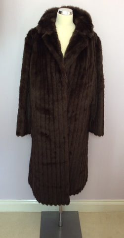 Astraka Dark Brown Faux Fur Coat Size M Approx. - Whispers Dress Agency - Womens Coats & Jackets - 1