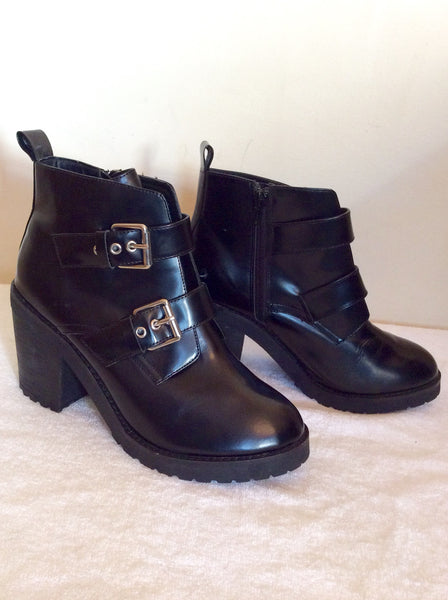 Brand New Schuh Black Buckle Trim Ankle Boots Size 6/40 - Whispers Dress Agency - Womens Boots - 1
