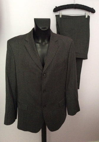 Smart FCUK Formal Grey Pinstripe 100% Wool Suit Size 44R/38W - Whispers Dress Agency - Mens Suits & Tailoring - 1
