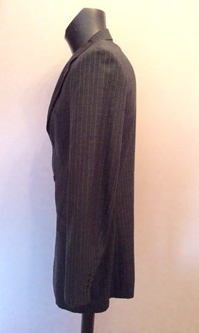 YVES SAINT LAURENT DARK GREY PINSTRIPE WOOL JACKET SIZE 40L - Whispers Dress Agency - Mens Suits & Tailoring - 2