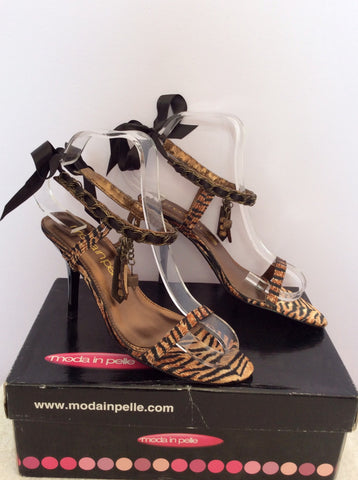 Brand New Moda In Pelle Tiger Print Ribbon & Charms Sandal Size 3.5/36 - Whispers Dress Agency - Womens Sandals - 1