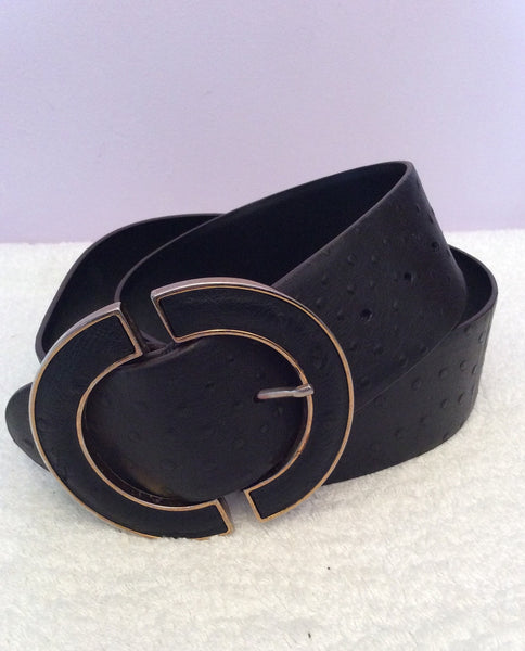Jaeger Black Leather & Gold Trim Metal Buckle Belt Size L - Whispers Dress Agency - Sold - 1