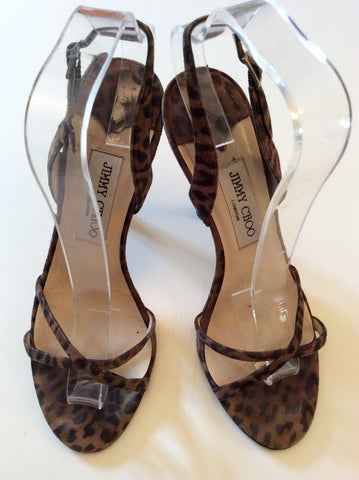 JIMMY CHOO BROWN LEOPARD PRINT STRAPPY SANDALS SIZE 5/38 - Whispers Dress Agency - Sold - 4