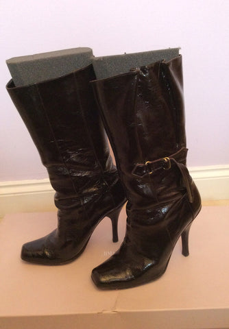 Jimmy Choo Brown Crushed Patent Leather Calf Length Boots Size 5.5 /38.5 - Whispers Dress Agency - Womens Boots - 3