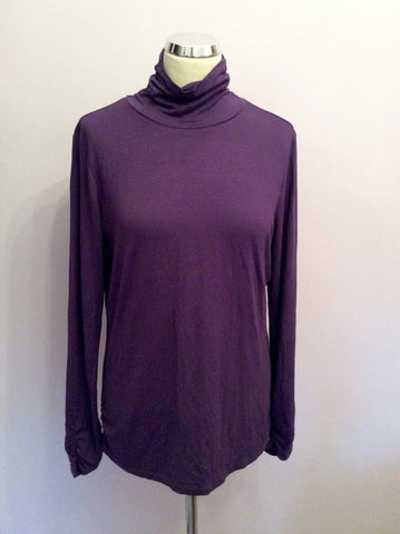 Gil Bret Purple Stretch Jersey Polo Neck Top Size 16 - Whispers Dress Agency - Fundraising - 1