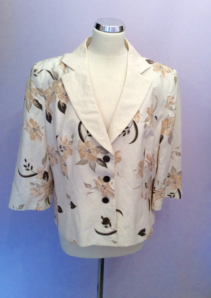 Minuet Cream & Brown Floral Print Silk & Linen Jacket Size 18 - Whispers Dress Agency - Womens Coats & Jackets - 1