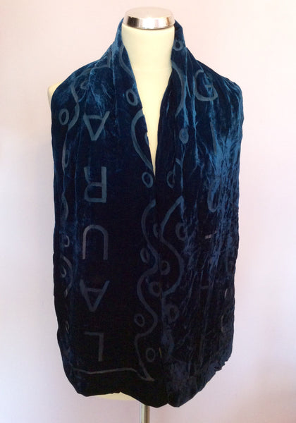 Laura Biagiotti Blue Velvet Scarf - Whispers Dress Agency - Womens Scarves & Wraps - 1