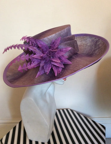 Snoxell Gwyther Dark Lilac / Mauve Wide Brim Flower Trim Formal Hat - Whispers Dress Agency - Womens Formal Hats & Fascinators - 1