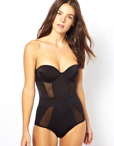 BRAND NEW ASOS BLACK CUPPED MESH INSERT SWIMSUIT SIZE 12 B/C