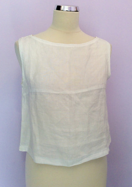 Jaeger White Sleeveless Crop Top Size 12 - Whispers Dress Agency - Sold - 1