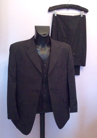 Tom English Charcoal Check Jacket, Waistcoat & 3 Pairs Of Trousers Suit Size 42S/38-40W - Whispers Dress Agency - Mens Suits & Tailoring - 1