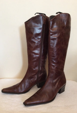 Marks & Spencer Dark Brown Leather Knee High Boots Size 8/42 - Whispers Dress Agency - Womens Boots - 2
