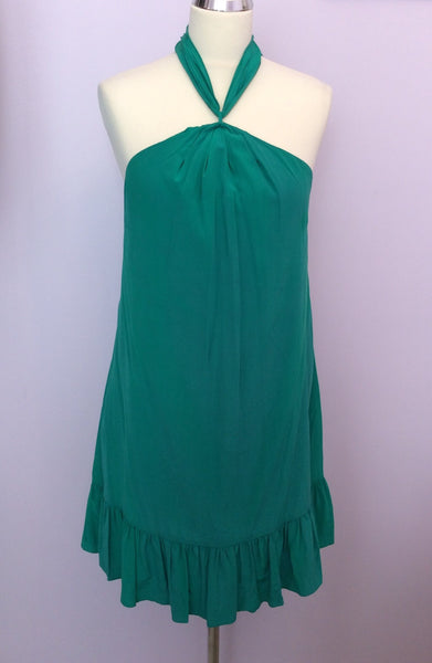 Coast Emerald Green Silk Halterneck Dress Size 8 - Whispers Dress Agency - Womens Special Occasion - 1