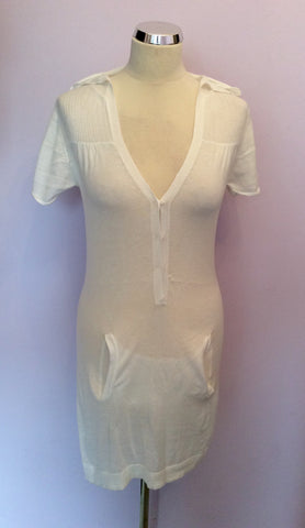 Odabash White Cotton Hooded Beach Cover Up Dress Size M - Whispers Dress Agency - Womens Swim & Beachwear - 2