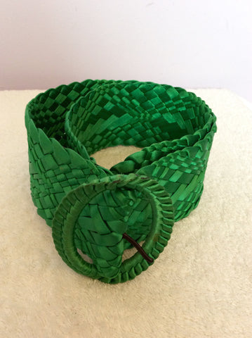 Vintage Jaeger Green Satin Plaited 3 Inch Belt Size M - Whispers Dress Agency - Vintage Accessories - 1
